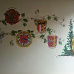 Wappenwand im Schützenheim