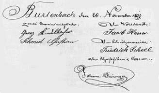 Unterschrift der Gründungsurkunde