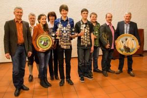 Gruppenbild der Sieger des Jahresabschlusschießens und der Vereinsmeisterschaft 2014 sowie der Könige 2015